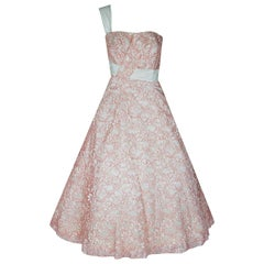 1955 Jacques Heim Haute Couture Pink White Lace One-Shoulder Full Party Dress