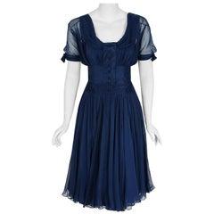 1955 Jean Desses Haute Couture Navy Blue Silk Chiffon Shelf-Bust Sculpted Dress