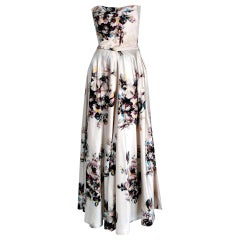 1950's Jeanne Lafaurie Paris Couture Watercolor Floral-Print Silk Strapless Gown