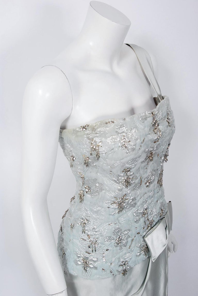 1955 Maggy Rouff Haute Couture Ice Blue Beaded Metallic Silk One-Shoulder Gown In Good Condition In Beverly Hills, CA