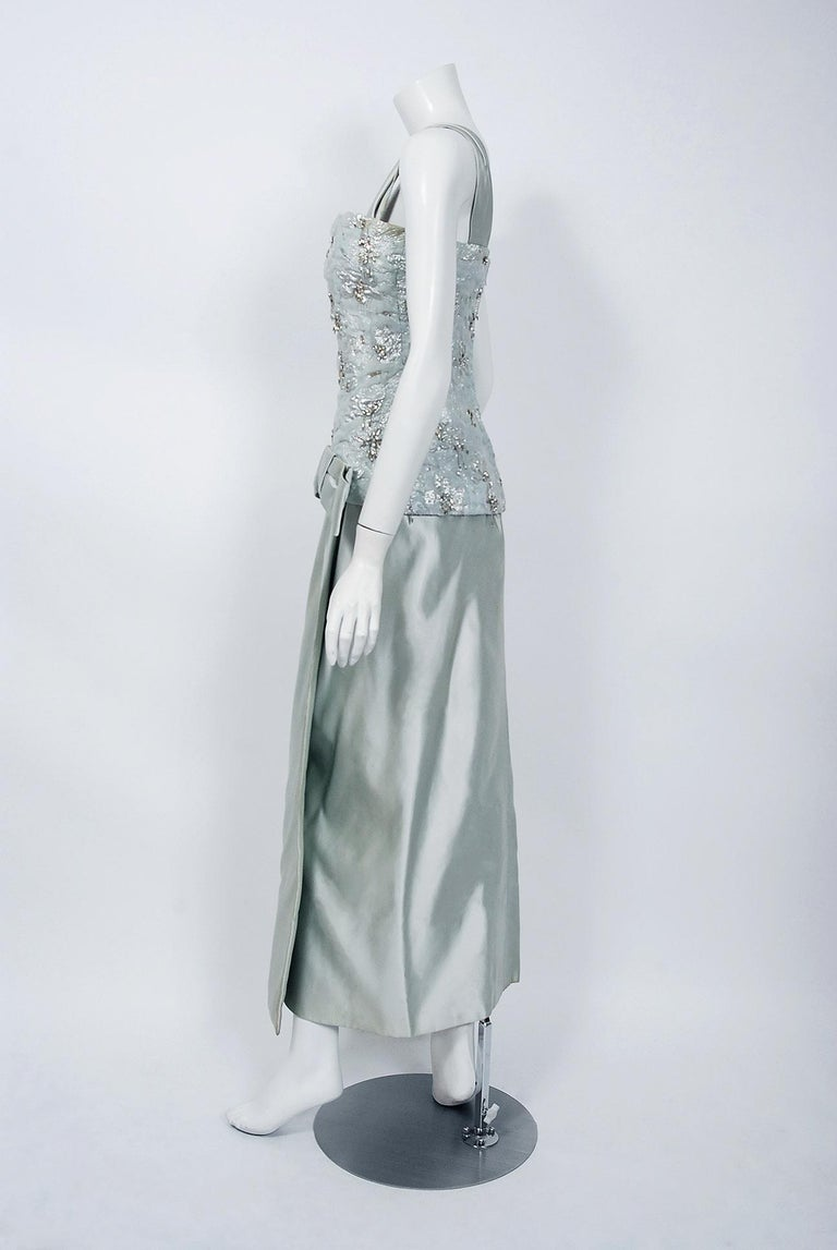 1955 Maggy Rouff Haute Couture Ice Blue Beaded Metallic Silk One-Shoulder Gown 2
