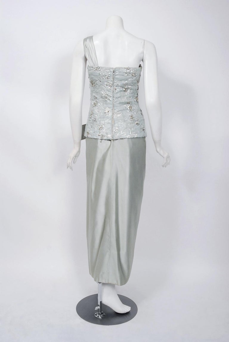 1955 Maggy Rouff Haute Couture Ice Blue Beaded Metallic Silk One-Shoulder Gown 3