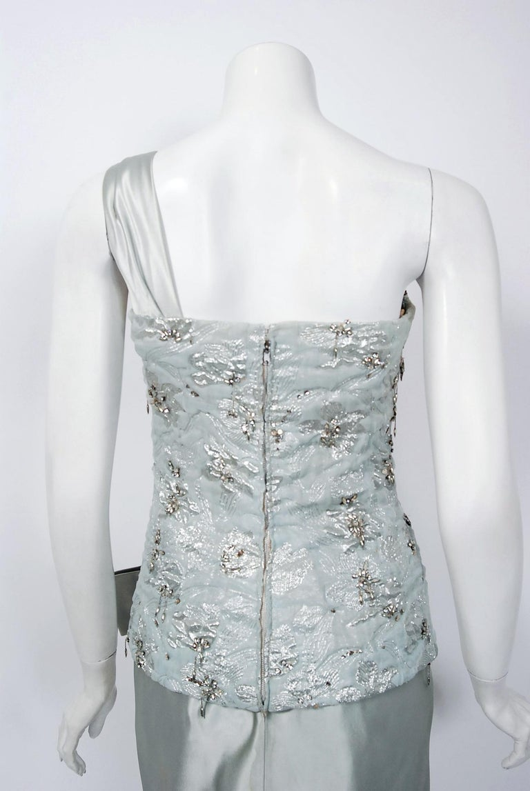1955 Maggy Rouff Haute Couture Ice Blue Beaded Metallic Silk One-Shoulder Gown 4