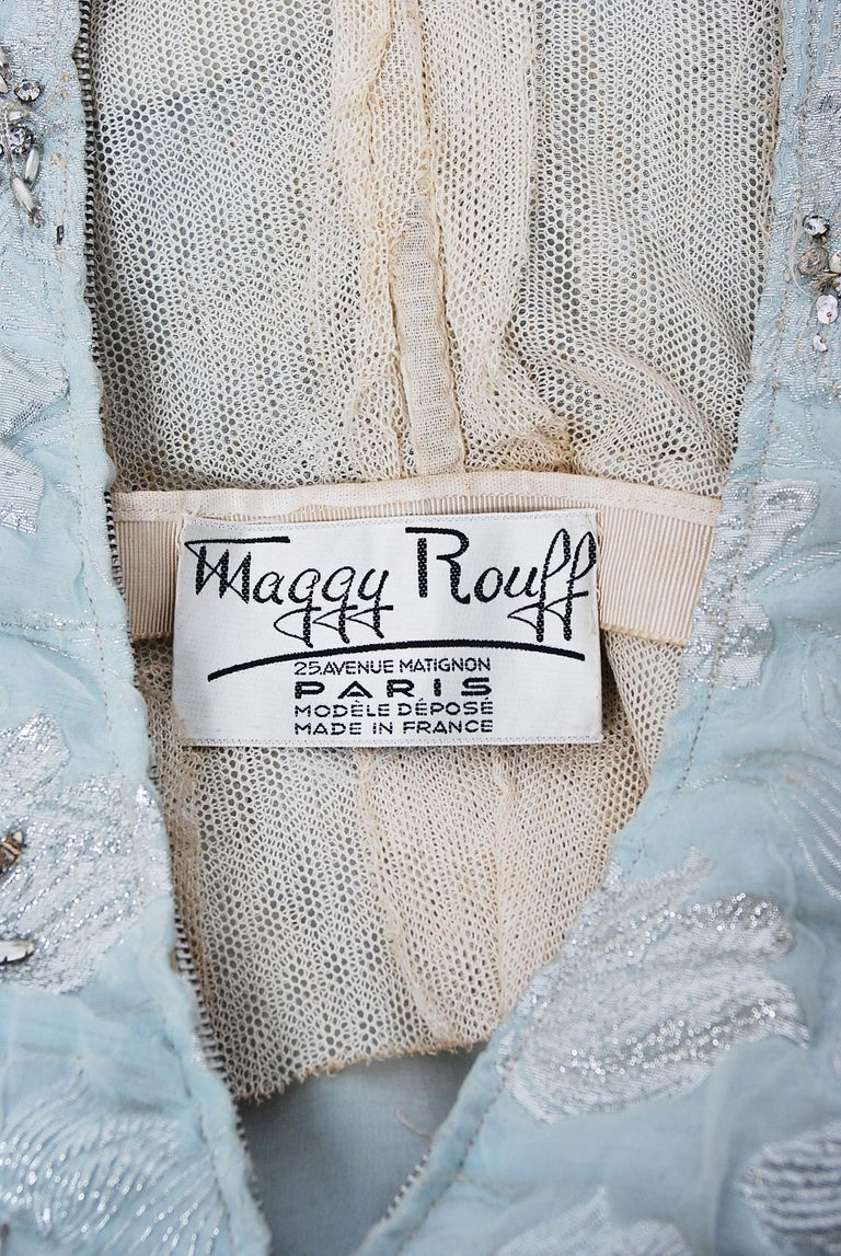 1955 Maggy Rouff Haute Couture Ice Blue Beaded Metallic Silk One-Shoulder Gown 5