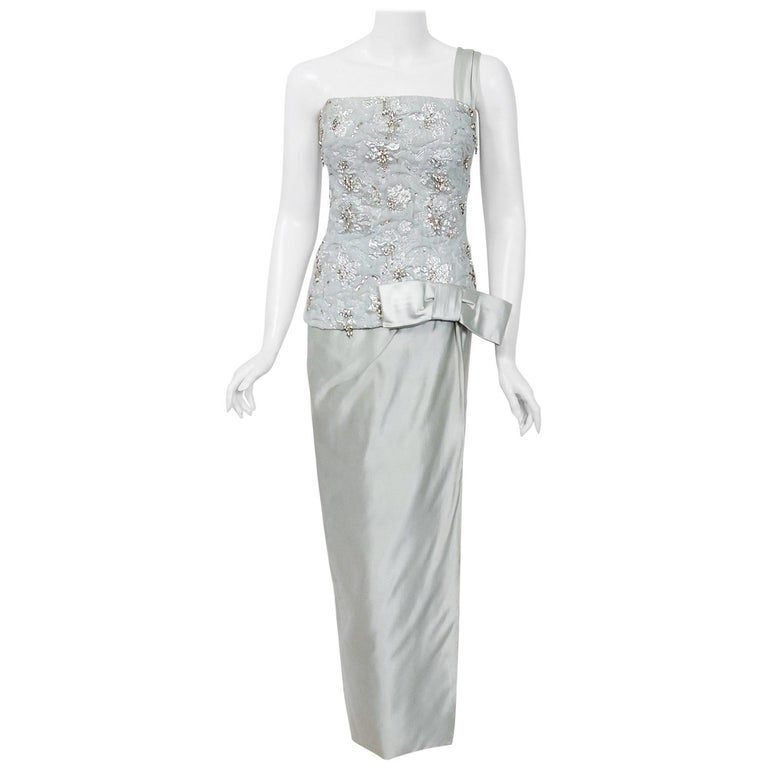 1955 Maggy Rouff Haute Couture Ice Blue Beaded Metallic Silk One-Shoulder Gown