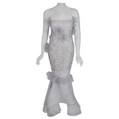 1955 Nina Ricci Paris Haute-Couture White Rhinestone Lace Silk Mermaid Gown
