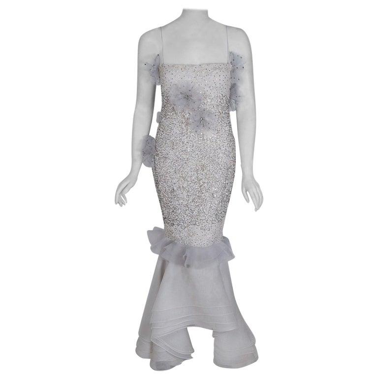 1955 Nina Ricci Paris Haute-Couture White Rhinestone Lace Silk Mermaid Gown For Sale