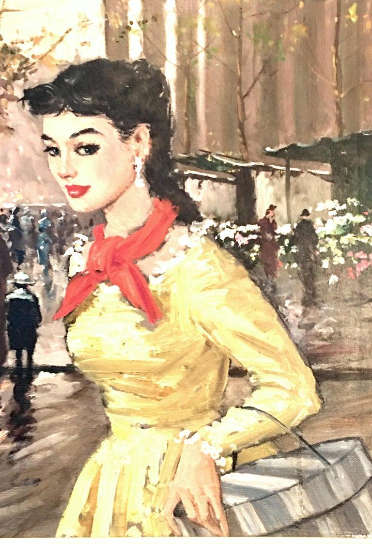 Mid-Century Modern 1955 Original Oil on Canvas Painting