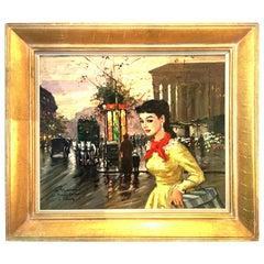 """1955 Original Oil on Canvas Painting """"Le Madeleine A Paris"""" by, Francois Gerome"""