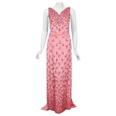 1955 Pedro Rodriguez Couture Pink Beaded Rhinestone Silk Hourglass Trained Gown