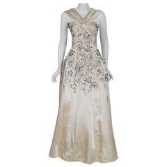 1955 Pierre Balmain Couture Attribute Ivory Beaded Embroidered Satin Ballgown