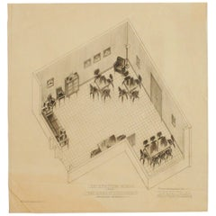 1955 Recreation Room Architectural Rendering by Rucker Fuller