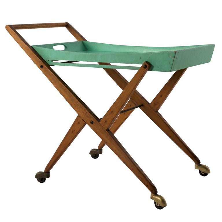 1955 Serving Cart by Angelo Ostuni for Frangi, Green Painting and Elm Tree Wood For Sale