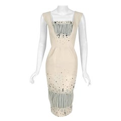 1955 Sorelle Fontana Couture Beaded Ivory Silk Tulle Shelf-Bust Cocktail Dress