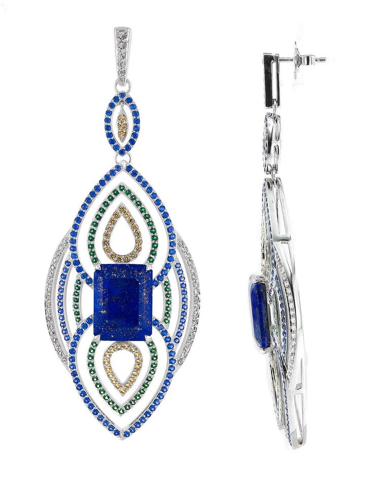 Art Deco 18 Karat Gold 19.56 Carat Lapis with Blue and Green Sapphire Diamond Earrings For Sale
