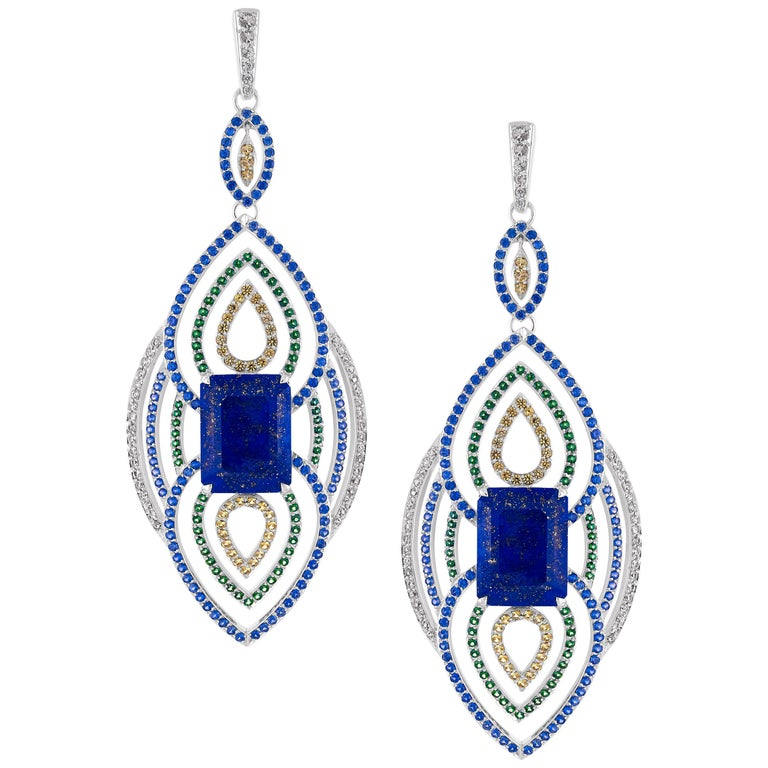 18 Karat Gold 19.56 Carat Lapis with Blue and Green Sapphire Diamond Earrings For Sale