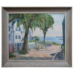 1956 Chrisman Oil Painting Coastal Ocean Landscape Figures Sailboat