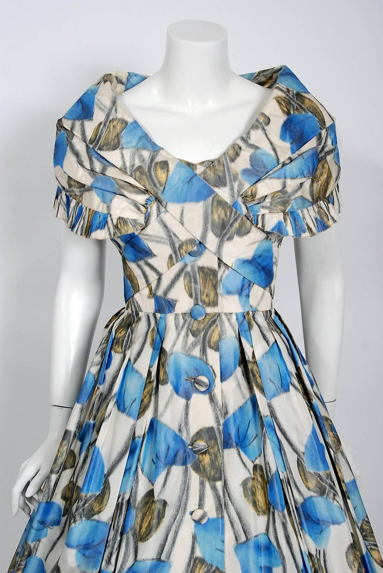 Gray Vintage 1956 Christian Dior Couture Blue Floral Silk Portrait Collar Full Dress For Sale