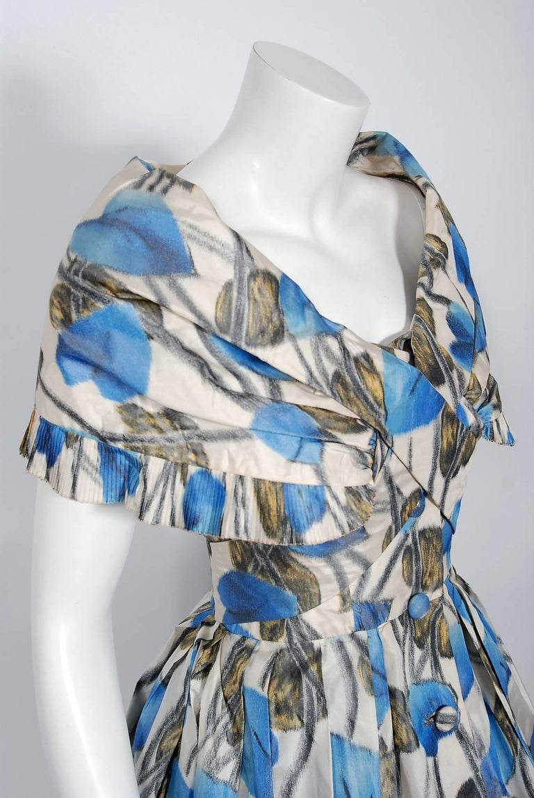 Gray 1956 Christian Dior Demi-Couture Blue Floral Silk Portrait Collar New Look Dress For Sale