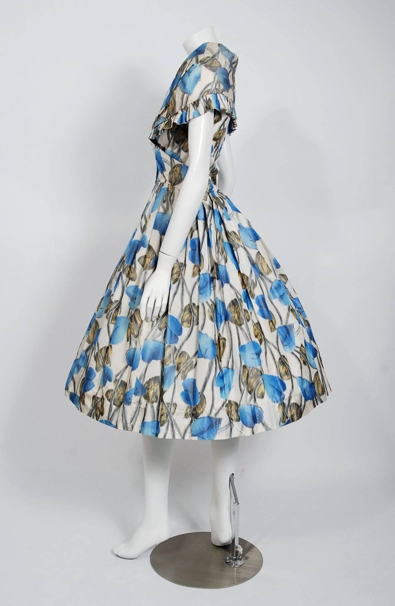 Vintage 1956 Christian Dior Couture Blue Floral Silk Portrait Collar Full Dress In Good Condition For Sale In Beverly Hills, CA