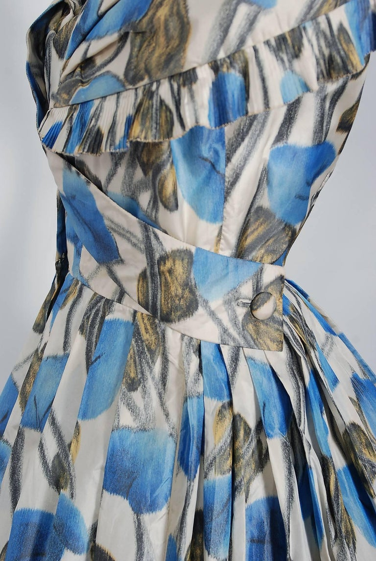 Women's Vintage 1956 Christian Dior Couture Blue Floral Silk Portrait Collar Full Dress For Sale