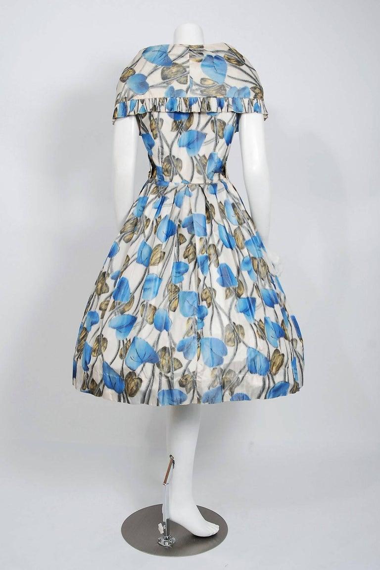 Vintage 1956 Christian Dior Couture Blue Floral Silk Portrait Collar Full Dress For Sale 2