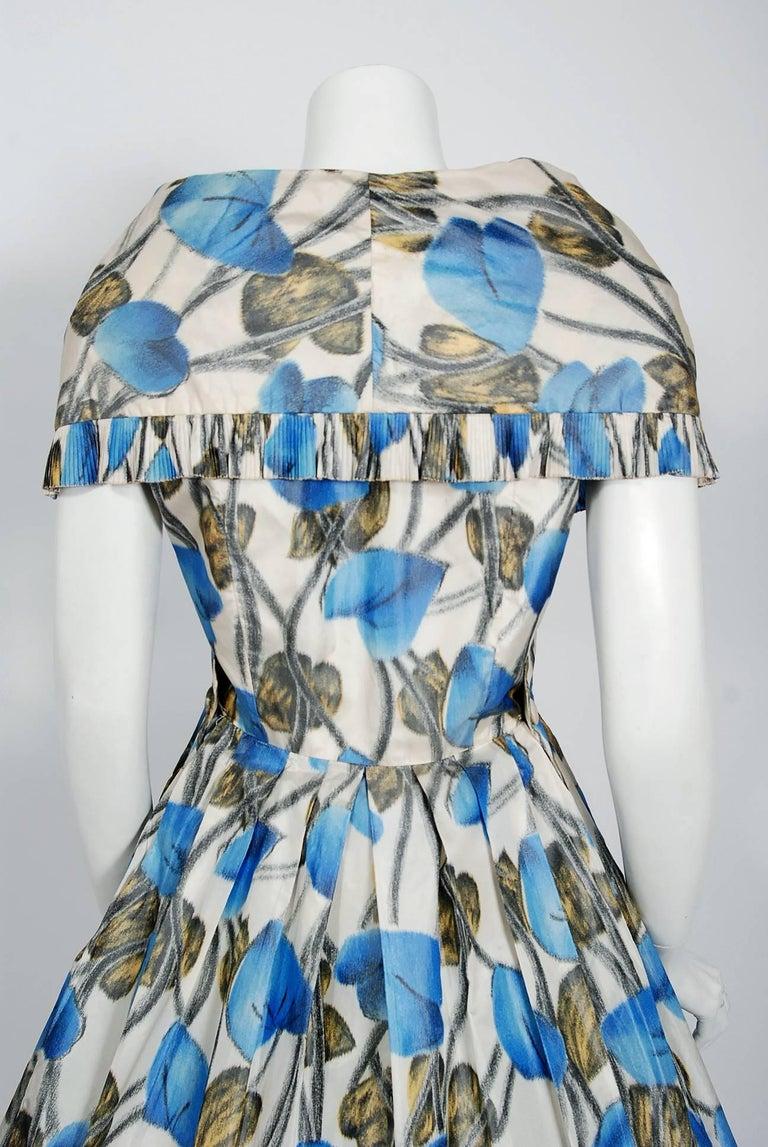 Vintage 1956 Christian Dior Couture Blue Floral Silk Portrait Collar Full Dress For Sale 3