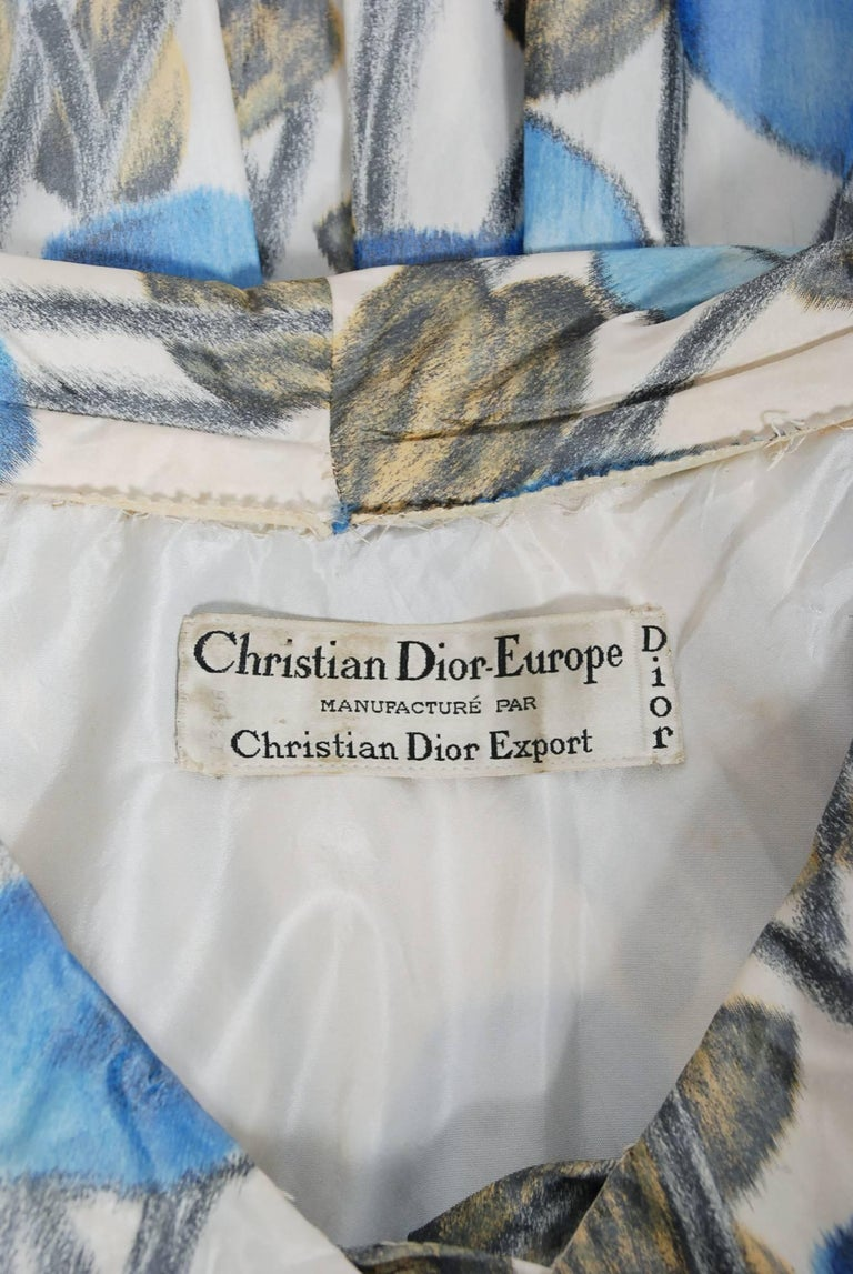 1956 Christian Dior Demi-Couture Blue Floral Silk Portrait Collar New Look Dress For Sale 4