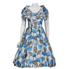 1956 Christian Dior Demi-Couture Blue Floral Silk Portrait Collar New Look Dress