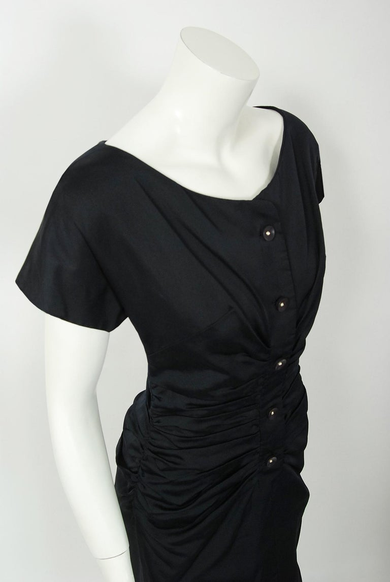 Black 1954 Christian Dior Lifetime Navy-Blue Silk Heavily Ruched Cocktail Dress