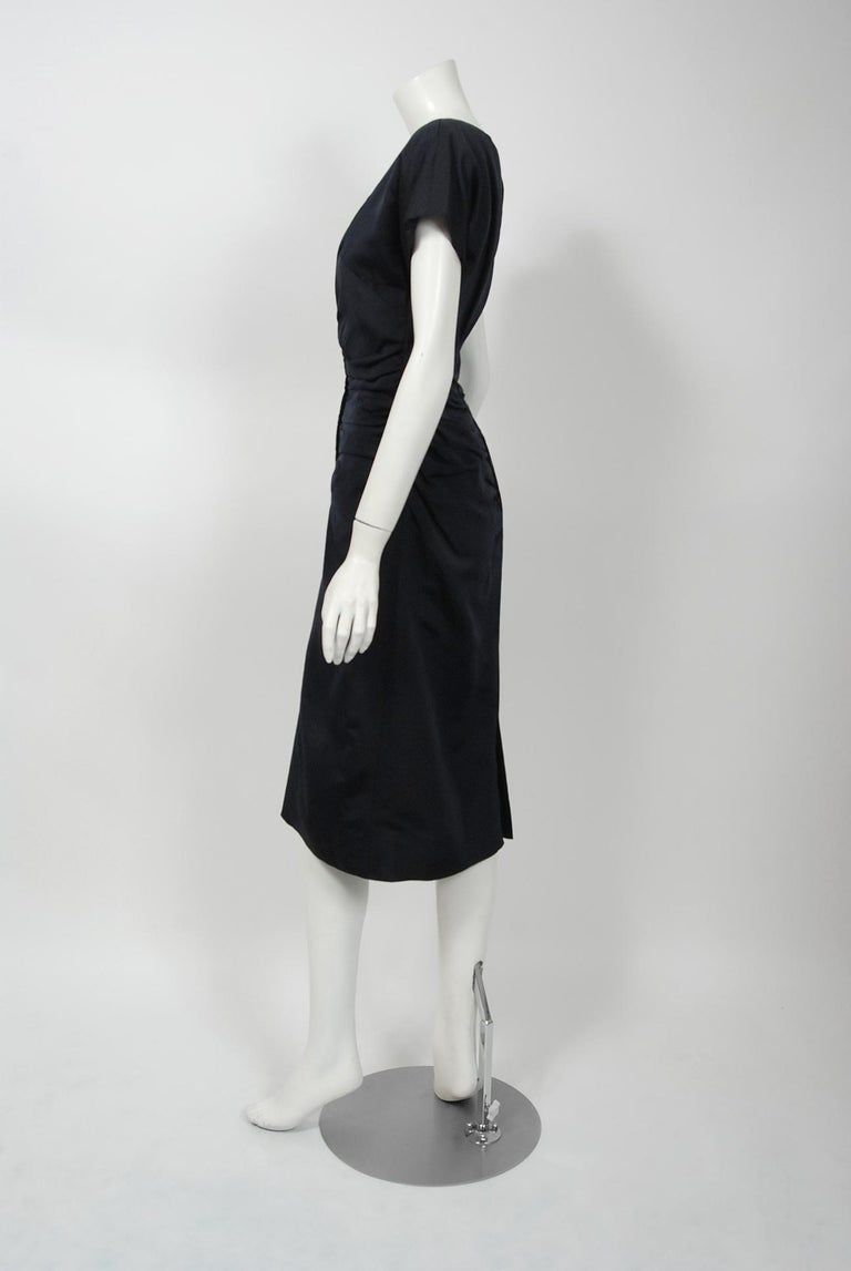 Women's 1954 Christian Dior Lifetime Navy-Blue Silk Heavily Ruched Cocktail Dress