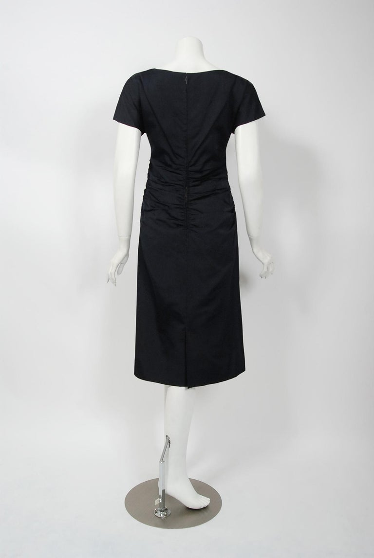 1954 Christian Dior Lifetime Navy-Blue Silk Heavily Ruched Cocktail Dress  1