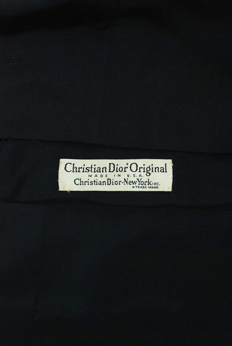 1954 Christian Dior Lifetime Navy-Blue Silk Heavily Ruched Cocktail Dress  3