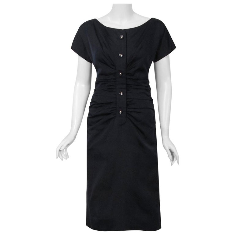 1954 Christian Dior Lifetime Navy-Blue Silk Heavily Ruched Cocktail Dress