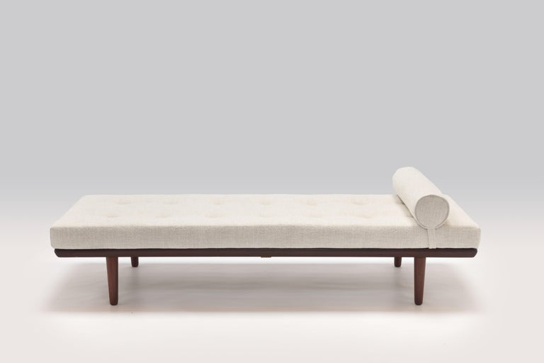 Brass 1956 Daybed Model GE19 by Hans J. Wegner for GETAMA, New Pierre Frey Upholstery For Sale