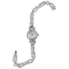 1956 Patek Philippe Platinum Diamond Egyptian Revival Style Bracelet Watch