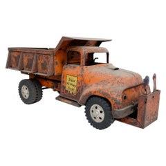 1956 Tonka Orange Toy Dump Truck State Hi-Way Construction on Big Rubber Tires