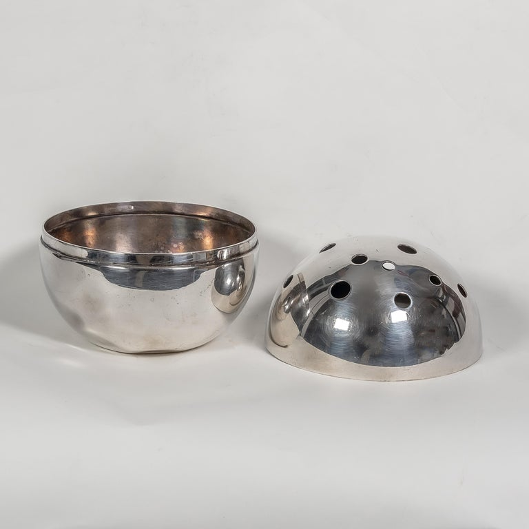 Italian 1957 Spherical Flower Holder Silver Plated Metal by Gio Ponti for Christofle For Sale