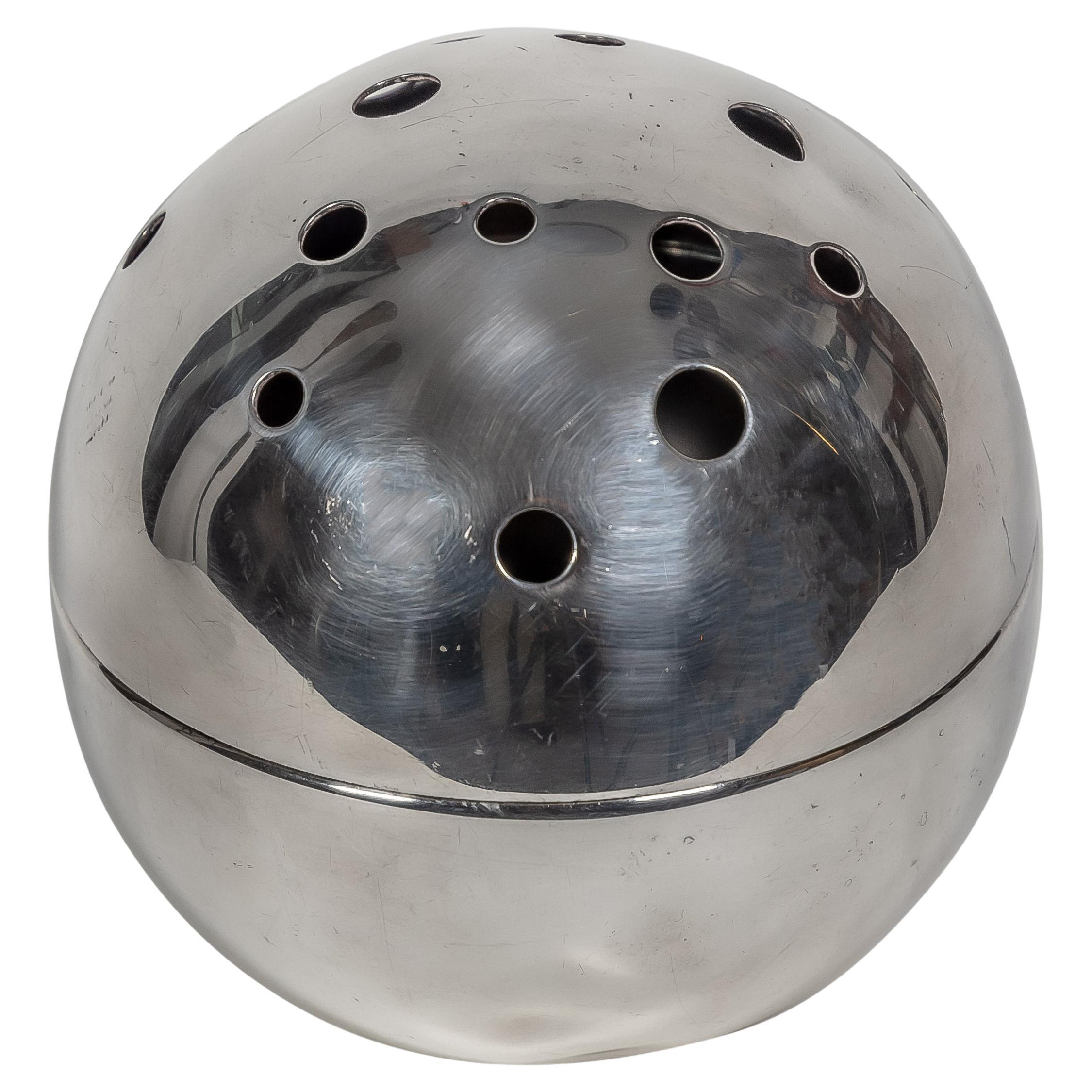 1957 Spherical Flower Holder Silver Plated Metal by Gio Ponti for Christofle