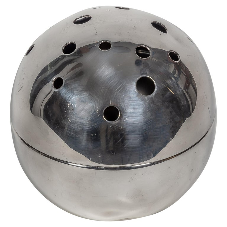 1957 Spherical Flower Holder Silver Plated Metal by Gio Ponti for Christofle For Sale
