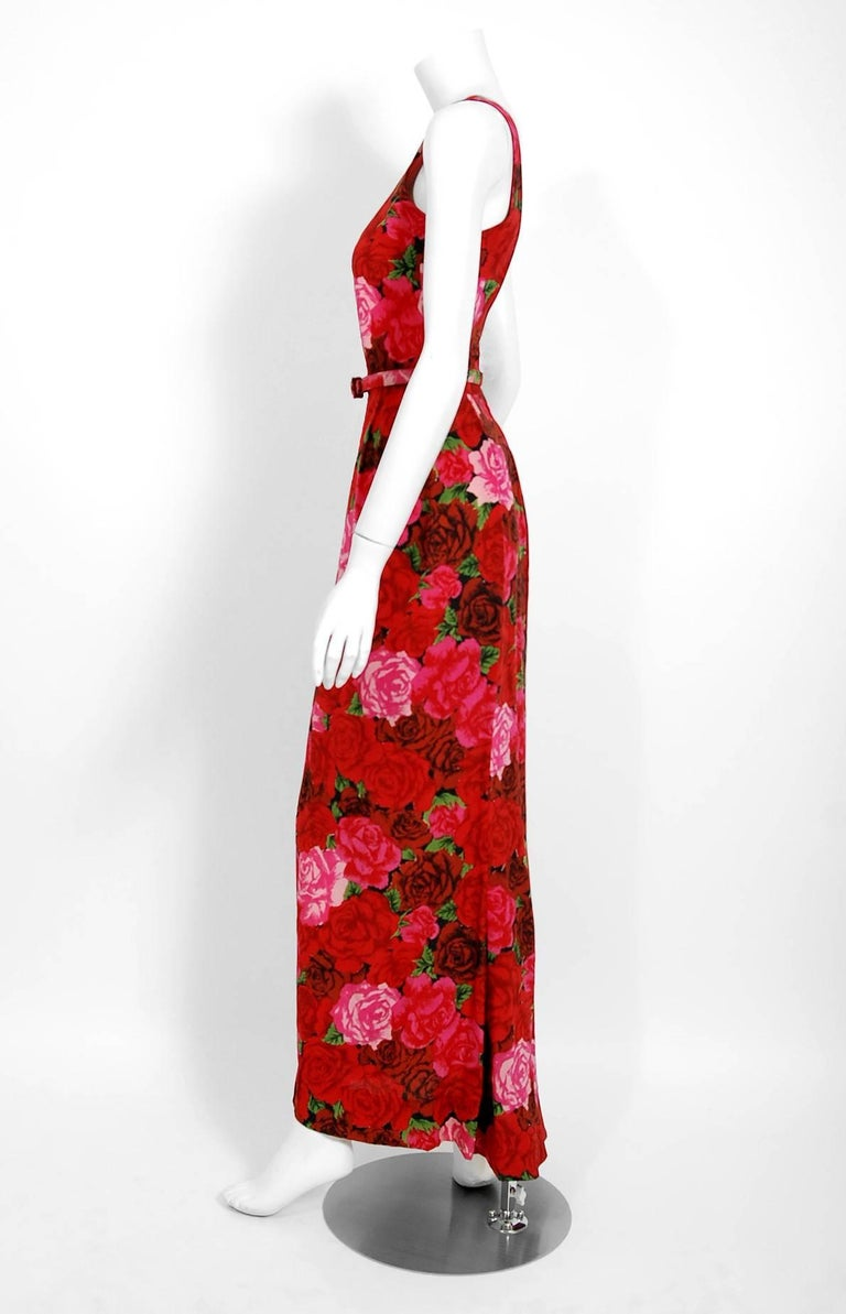 1957 Traina Norell Red and Pink Rose Garden Floral Silk Belted Backless Gown For Sale 1