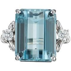 19.58 Carat Aquamarine Diamond Platinum Cocktail Ring
