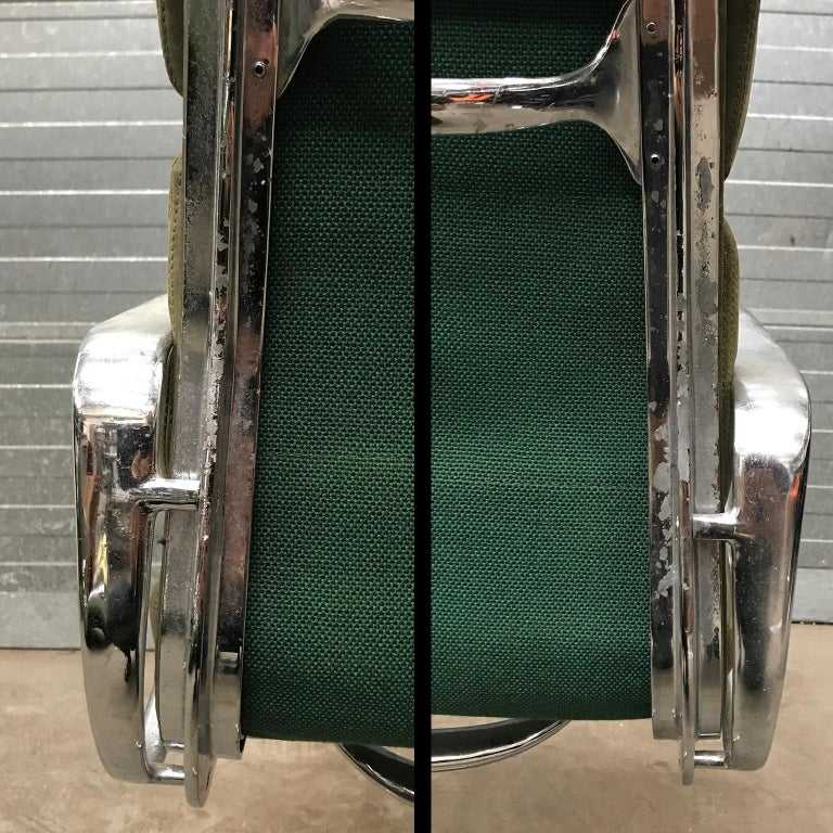 1958, Eames for Herman Miller, Early EA 207 Softpad in Green Vintage Leather For Sale 11