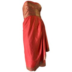 1958 Pauline Lake Coral Silk & Gold Lame Imported Fabric Strapless Sarong