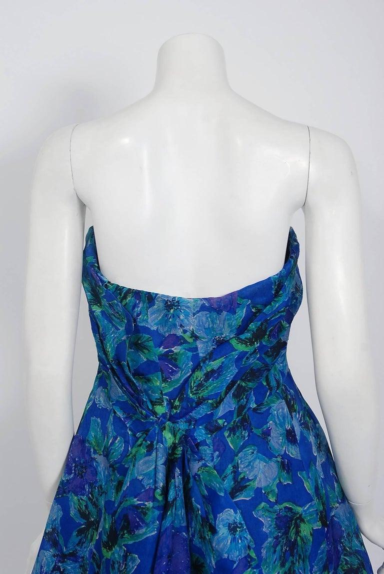 1958 Pierre Balmain Haute Couture Blue Floral Silk Organdy