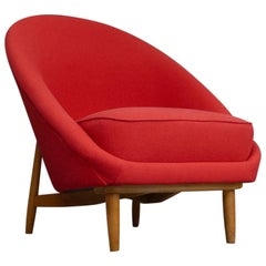 1958 Theo Ruth Red Club Chair for Artifort, the Netherlands