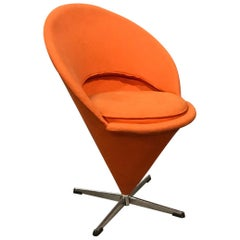1958, Verner Panton for Rosenthal, Cone Chair in Original Orange Fabric