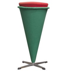 1958, Verner Panton for Rosenthal, Cone High Stool, Original Linen Fabric