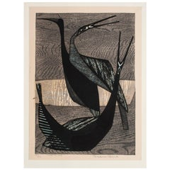 "1959 ""Bird-B"" Woodblock Print by Shima Tamami, Japan"