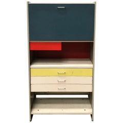 1959, Cordemeyer, Gispen, Desk Storage Cabinet 5600 with Folding Desktop
